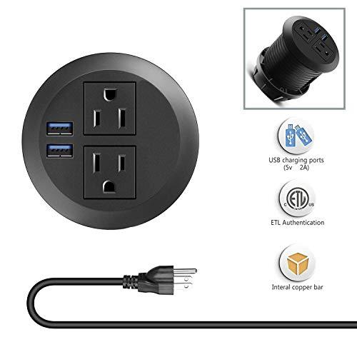 Power Desk Grommet,Hidden Power Strip,Desktop 2-Outlet 2 USB Ports Mountable into 3 Inch Hole,Suitable for Conference Room Office Kitchen Table