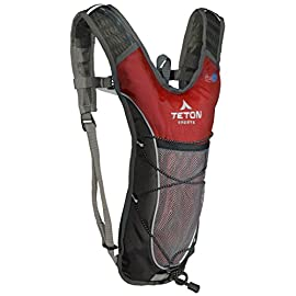TETON Sports TrailRunner 2.0 Hydration Pack; Backpack for Hiking, Running and Cycling; Free 2-Liter Hydration Bladder 9 SATISFY YOUR THIRST FOR ADVENTURE: Lightweight and comfortable hydration backpack; This pack is a terrific companion to keep you hydrated while running, cycling, hiking or any adventure outdoors FREE HYDRATION BLADDER: 2-Liter; Durable, kink-free sip tube and push-lock cushioned bite valve; Large 2-inch (5 cm) opening for ice and easy cleaning CUSTOMIZABLE COMFORT: Backpack for men, women, and youth; Adjusts to fit all frames; Comfortable mesh covered shoulder straps mean you can wear this pack for hours