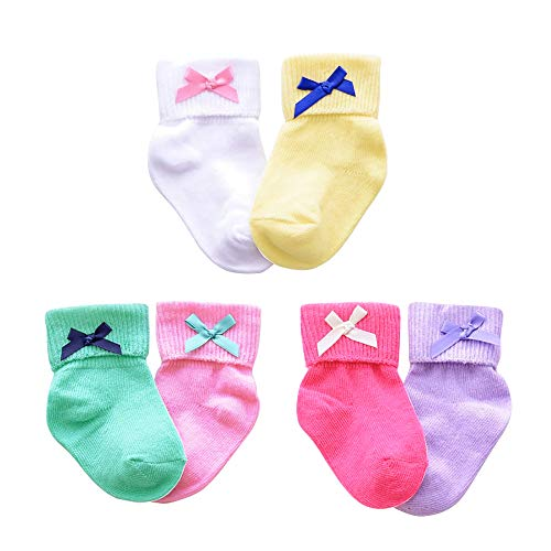 CozyWay Baby Girls Frilly Lace Basic Socks Newborn Toddlers 0-3 Years Cotton pack of 6 (0-12 Months, Bow#1/multicolor/3 pack)