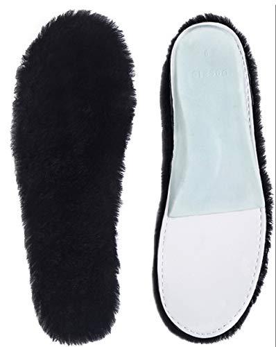 ABUSA Women's Cozy Warm Thick Fleece black Sheepskin Insole, 12 B(M) US