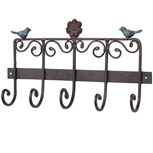 - MyGift Bird & Flower Scrollwork Design Wall Mounted Bronze Cast Iron Hanging Coat Storage Rack with 5 Hooks