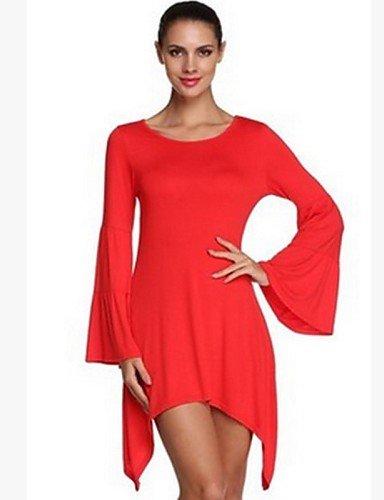 PU&PU Robe Aux femmes Ample Simple,Couleur Pleine Col Arrondi Au dessus du genou Coton / Polyester , red-m , red-m