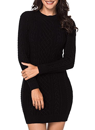 Womens Black Sweater Dress - Women Long Sleeve Crew Neck Cable Knit Slim Fit Bodycon Sweater Dress Casual Pullover Pencil Dress Midi Length Above Knee-Black M 8 10