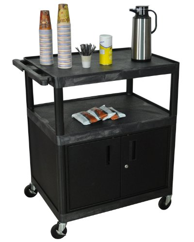 Luxor Black 2 - Shelf Heavy Duty Rolling Industrial All Purpose Wide Storage Utility Large Coffee Serivce Cart With Locking Cabinet 4 Casters