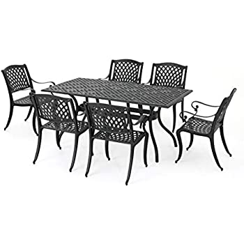 Great Deal Furniture Marietta | 7 Piece Cast Aluminum Outdoor Dining Set |  Perfect For Patio | In Black Sand