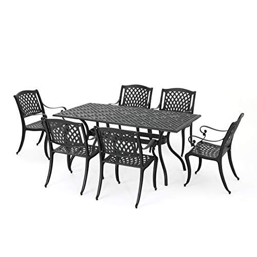 Christopher Knight Home 295848 Marietta Cast Aluminum Outdoor Dining Set, 7 Piece, Black -