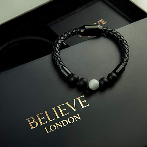 Believe London Onyx & Howlite Gemstone Bracelet Healing Bracelet Chakra Bracelet Anxiety Crystal Natural Stone Men Women Stress Relief Reiki Yoga Diffuser Semi Precious - Onyx Stone Meaning