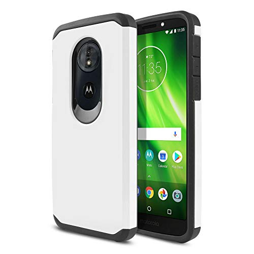 (FINCIBO Case Compatible with Motorola Moto G6 Play/ G6 Forge/Moto E5 5.7 inch, Hybrid Dual Layer TPU Silicone Skin Hard Protector Cover Case for Moto G6 Play (NOT FIT G6 Plus) - White/Black)