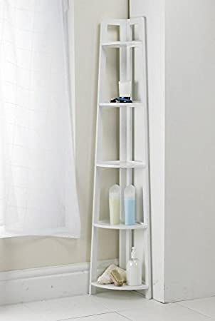 white 137cm 5 tier corner shelving unit home bathroom storage solutions new