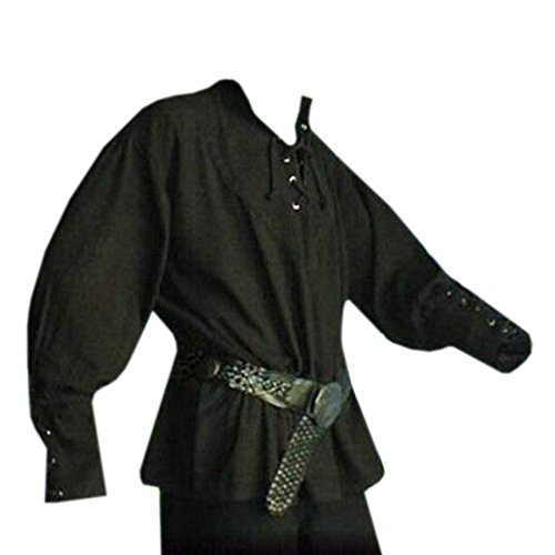 Karlywindow Men's Medieval Lace Up Pirate Mercenary Scottish Wide Cuff Shirt Costume
