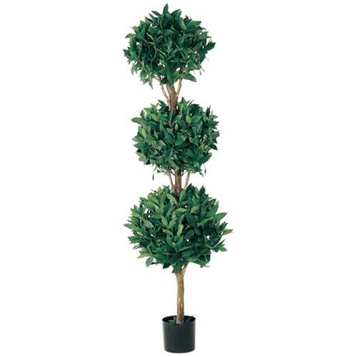 - 5' Sweet Bay Laurel Triple Ball-Shaped Silk Topiary Tree w/Pot