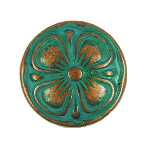 (Bezelry 12 Pieces Antique Copper Clover Metal Shank Buttons in Deep Cyan Color. 15mm)