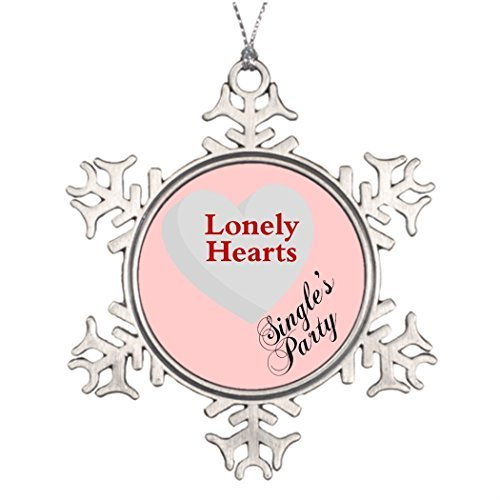 Metal Ornaments Custom Christmas Snowflake Ornaments Anti-Valentine's Day Singles' Party Sign House Christmas Snowflake Ornament]()