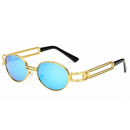 Punk Lens de Ronde Lunettes en Lens Cadre Lunettes Classique Frame Color Gold Gold Steam Soleil Grey Punk de Retro Sakuldes Blue Soleil Mode métal Nouvelles Frame Y5v4q4
