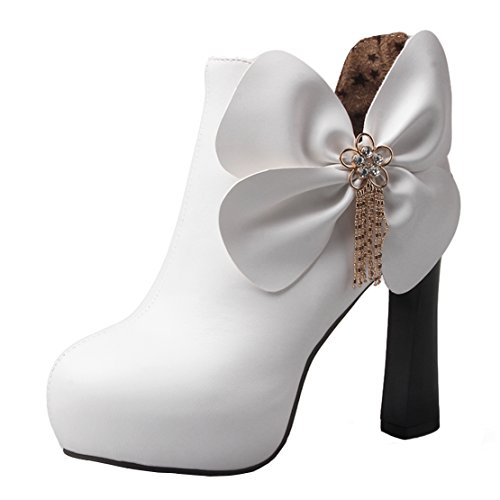 AIYOUMEI Womens Round Toe Zipper Thick Heels Autumn Winter Rhinestones Ankle Boots with Bow White z3JXtAzYH