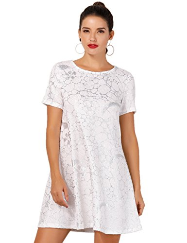 OEUVRE Women's Summer Basic Tee Shirt Stretch Dress Plus Size Metallic Star Print Jersey Silver 08