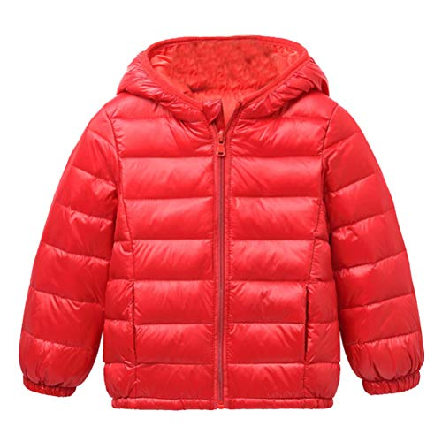 Boys Thin Jacket Down Warm Red BESBOMIG Kids Jacket Windproof Zipper Lightweight Outerwear Unisex Winter Hooded Coats Girls tOEFxz