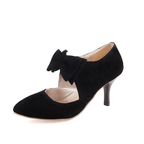 Balamasa Dames Winkle Pinker Gesponnen Goud Strik Naaldhals Nagebootst Lederen Pumps-schoenen Zwart