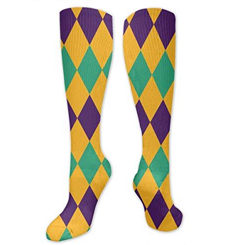 - SARA NELL Unisex Men Women Knee High Socks Mardi Gras Jester Costume Compression Socks Sports Athletic Socks Tube Stockings Long Socks Funny Personalized Gift Socks