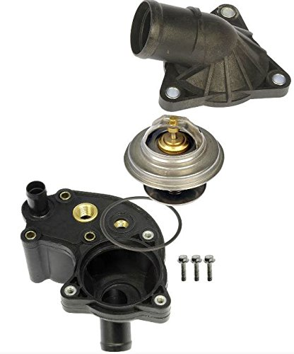 APDTY 013315 Thermostat With Upper & Lower Water Outlet Housing & O-Ring Gaskets Fits 1997-2001 Ford Explorer/Ford Ranger/Mercury Mountaineer (4.0L; Models With Screw In Coolant Temp Sensors Only) (2001 Ford Explorer Sport Trac Thermostat Housing)