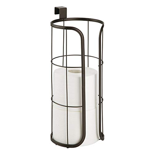 - mDesign Modern Over The Tank Hanging Toilet Tissue Paper Roll Holder and Reserve for Bathroom Storage - Stores 3 Extra Rolls, Holds Jumbo-Sized Rolls - Durable Metal Wire - Bronze