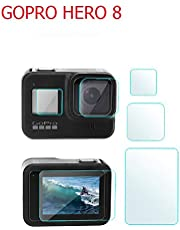 XINKOE Screen Protector for GoPro Hero 8, Waterproof Drop Anti-Oil Tempered Glass 3 PCS Screen Lens Protective Film, GoPro Hero 8 Sports Camera Accessories-Transparent