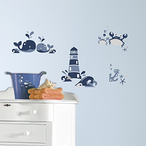 RoomMates RMK3298SCS Nautical Sea Friends Peel and Stick Wall Decals (Nautical Wall Stickers)