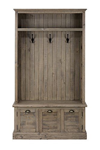 "Jofran: 940-15TBKT, Slater Mill, Hall Tree, 42""W X 17""D X 55""H, Medium Brown Pine Finish, (Set of 1) - Slater Mill Finish: Hand-finished medium brown pine, lightly distressed. Reclaimed pine Hall Tree Top with storage space and hooks Hand Cast Blackened Antique brass hooks - hall-trees, entryway-furniture-decor, entryway-laundry-room - 41dVPTIqJoL -"