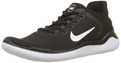 timeless design 8740f 688e9 NIKE Men s Free RN 2018 Black White Nylon Running Shoes 8 ...