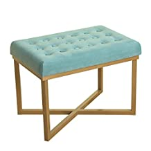 Kinfine Velvet Tufted Ottoman with Metal Base, Teal