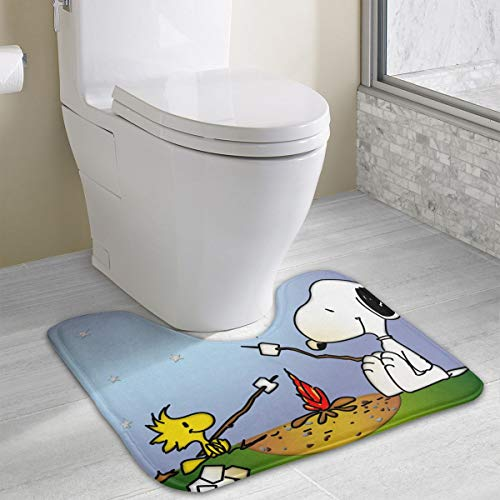 Contour Bath Rug Snoopy Camping U-Shaped Toilet Floor Rug Shower Mat Non Slip Bathroom Carpet 19.3