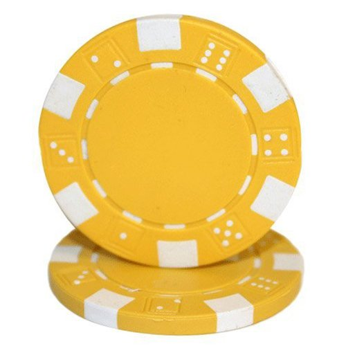 Brybelly 50 Yellow Clay Composite Striped Dice 11.5 Gram Poker Chips ()