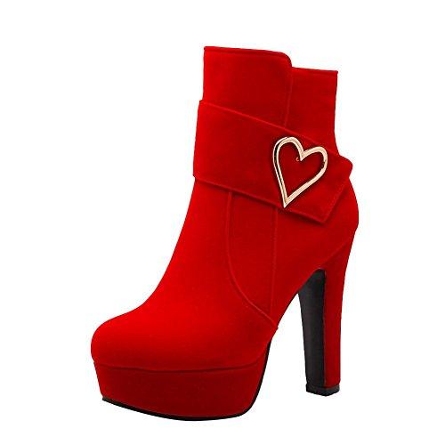 Mee Shoes Damen Nubukleder runde Plateau kurzschaft Stiefel Rot