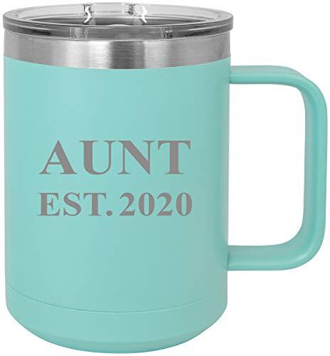 Aunt Established Est. 2020 Steel Vacuum Insulated 15 Oz Engraved Travel Coffee Mug with Slider Lid, Teal