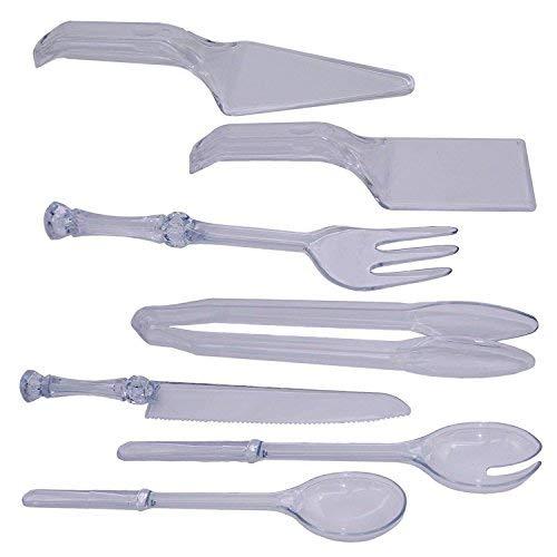 Disposable Plastic Serving Utensil Set, Tong, Fork, Knife,