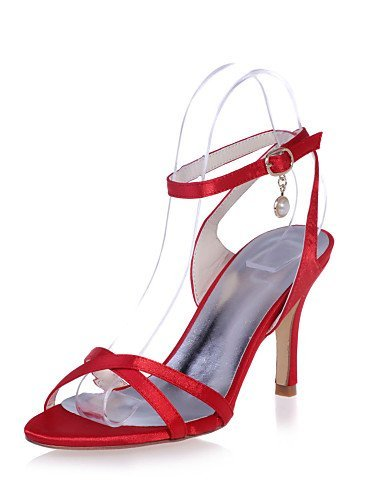 ShangYi Womens Shoes Satin Stiletto Heel Ankle Strap/Open Toe Sandals Wedding/Party & Evening Shoes More Colors available Red