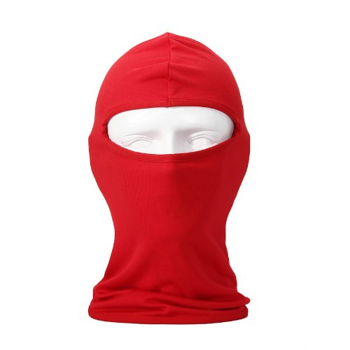 Candy Color Ultra Thin Ski Face Mask - Great Under A Bike / Football Helmet (Red Football Helmet)
