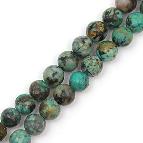 "Genuine Natural Stone Beads African Turquoise Round Loose Gemstone 8mm 1 Strand 15.5""45-47pcs DIY Charm Smooth Beads for Bracelet Necklace Earrings Jewelry Making Accessories Supplier ST1"