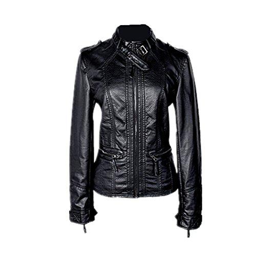 HongDiHao Hong Di hao Women's Slim Short Stand Collar Thick Velvet Zipper Faux PU Leather Jacket Coat Motorcycle (U.S.A. 5XL) by HongDiHao