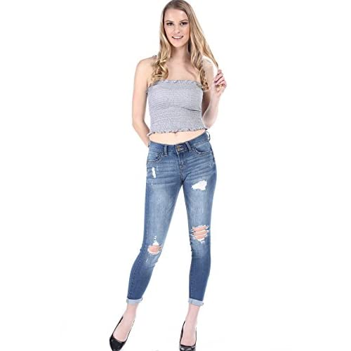 6db5e7e0afbe SALT TREE Women s Wax Two Button Destroyed Washed Out Cuffed Ankle Jeans