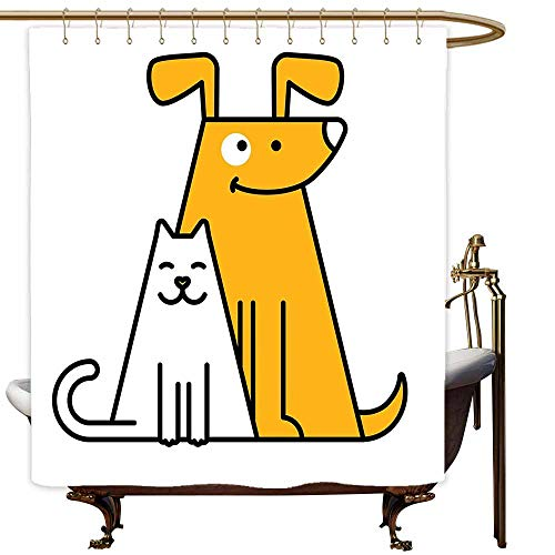 MaryMunger Shower Curtain with Hooks Cartoon Cats and Dogs Human Best Friends Forever Kids Nursery Room Art Print Shower stall Curtain W55x84L Black White and Apricot_1