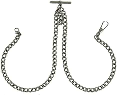 Pocket Watch Chain Mens Antiqued Silver Tone Pewter Double Albert T-Bar