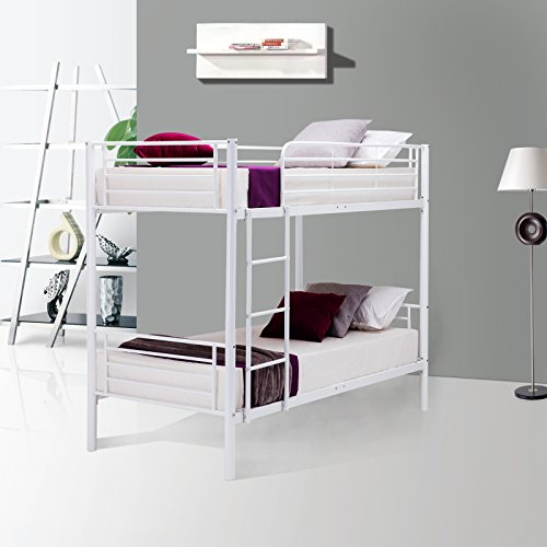 LAGRIMA Twin Over Twin Bunk Beds - with Removable Ladder - for Kids/Teens/Children/Adults - Twin Over Twin/White