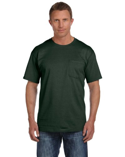 Cotton Adult Pocket T-shirt - FOL 3930P Adult Heavy Cotton T-Shirt with Pocket, Forest Green, Large