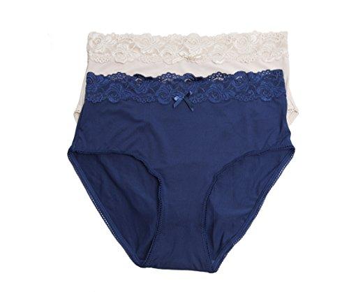 Kathy Ireland Womens 2 Pack High Waist Lace Trim Brief Panties Plus 1X-L Blu/NUD