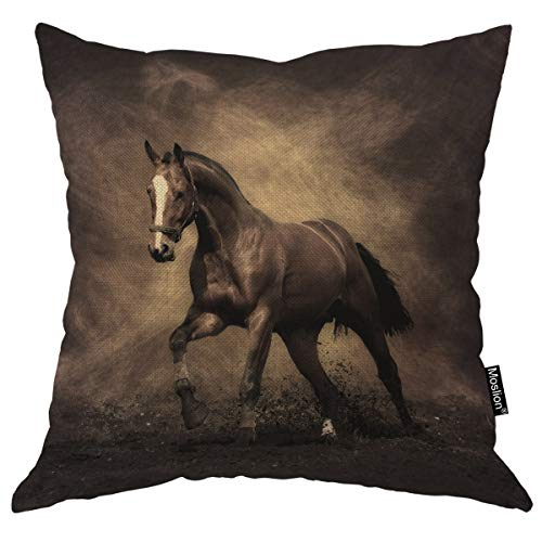 Moslion Fathers Day Pillow Covers Horse Pillow Animal Pillow Covers 18x18 Inch Throw Pillow Cover Running Square Pillow Case Cushion Cover for Father's Day Home Car Decorative Cotton ()