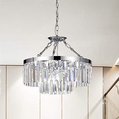 Cheap SOTTAE 2-Tier 9 Lights Modern Chrome Hanging Crystal Chandelier living room chandelier for sale