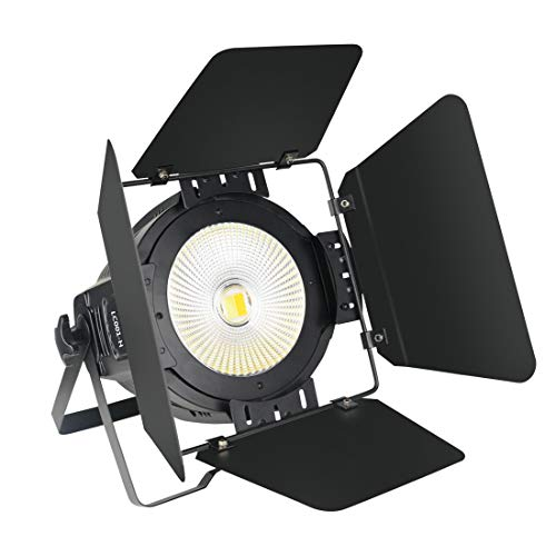 LED Par Lights for Stage Lighting with Barn Doors, 100W COB Cool & Warm White DJ Par Lights White, Stage Lights for Church, Concert, Theater
