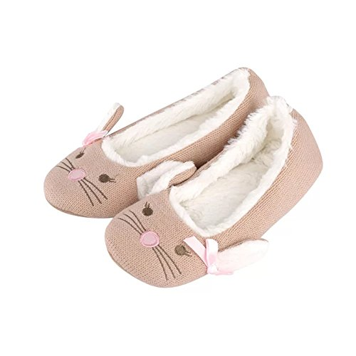 Toe Shoes Women's Non Cotton Slippers Indoor Nymphlu Mouse Slip Closed Washable Sole Knitted Flat Comfort with CAqvxw8