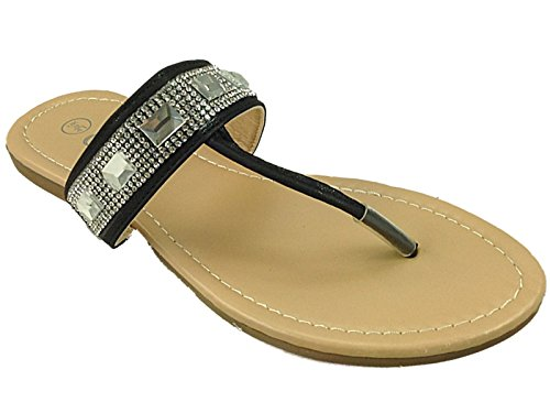 On 8 Ladies Flat Iris Chix Post Wedge Casual Beach Rashida Flop Slip Jewelled Sandal Size Flip Toe Black Holiday 3 Girls Shoes xAxvwHqf
